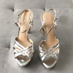 Marc Fisher Silver leather heels